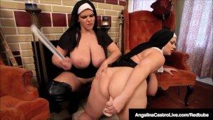 Macaté lesbické jeptišky Angelina Castro a Sam 38G ve žhavém snímku