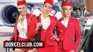 Clea Gaultier, Lucy Heart a Nesty v letadle (DORCEL TRAILER)
